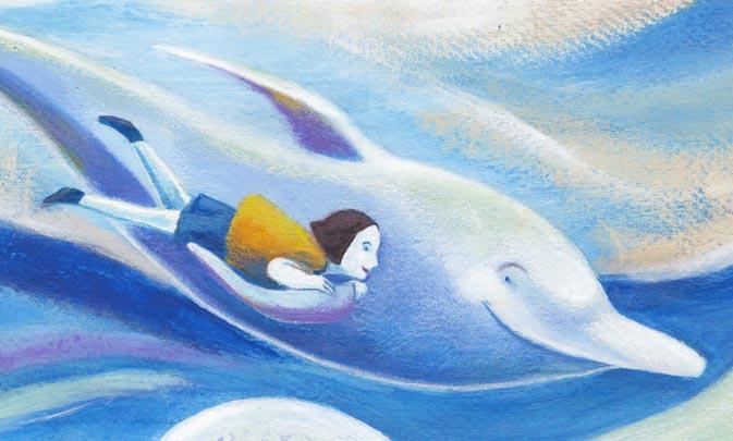 Delfino e bambina, illustrazione di Sara Colautti