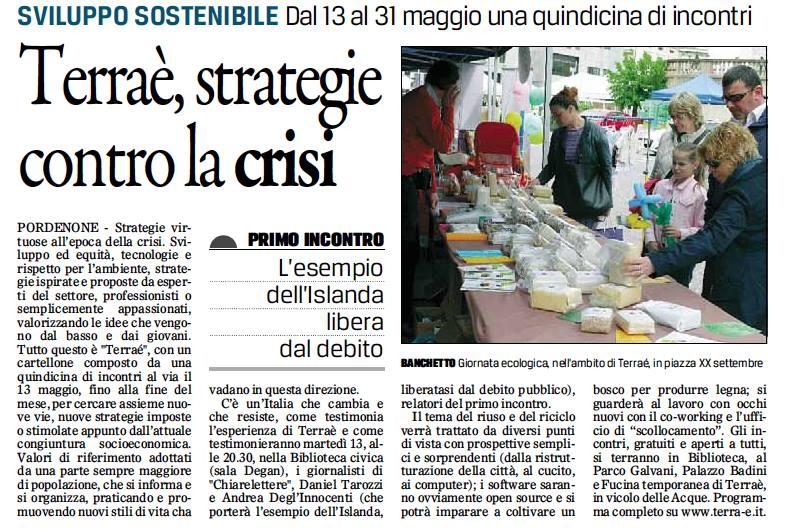 Il Gazzettino di Pordenone, 6 maggio 2014