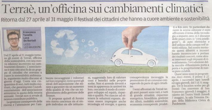 Articolo dal Messaggero Veneto (Pordenone)