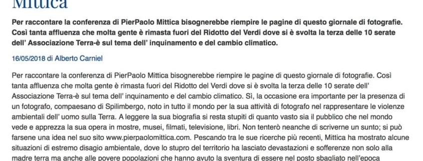 """Articolo su """"Il Popolo"""""""