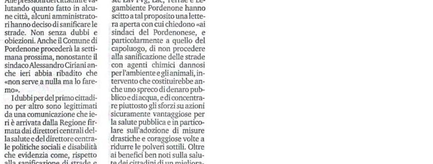 Sanificazione strade Pordenone - Il Messaggero